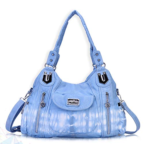 Pocket Large Hobo Handbag - Angel Kiss Handbag Hobo Women Handbag Roomy Multiple Pockets Street ladies' Shoulder Bag Fashion PU Tote Satchel Bag for Women (AK812-2Z Light Blue), Large