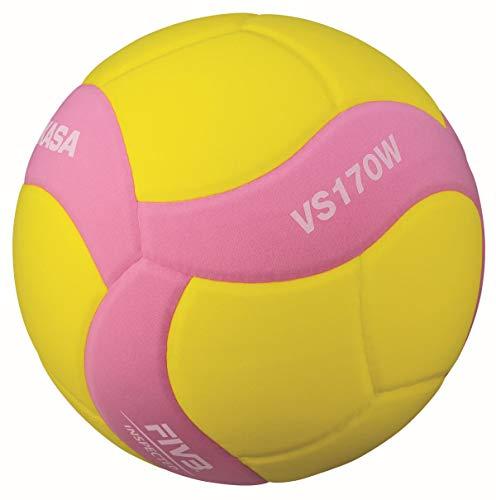 미카사 스마일 배구공 5 호 FIVB 공인 노랑 / 핑크 VS170W-Y-P