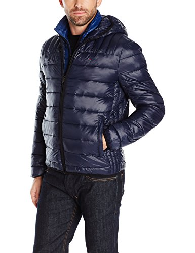 Tommy Hilfiger Men's Ultra Loft Insulated Packable Jacket with Contrast Hood, Midnight/New Navy Bib, S