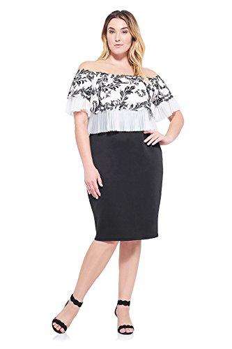 Tadashi Shoji Lina Off-The-Shoulder Dress Plus- Bk/Wh- Size 16W ()