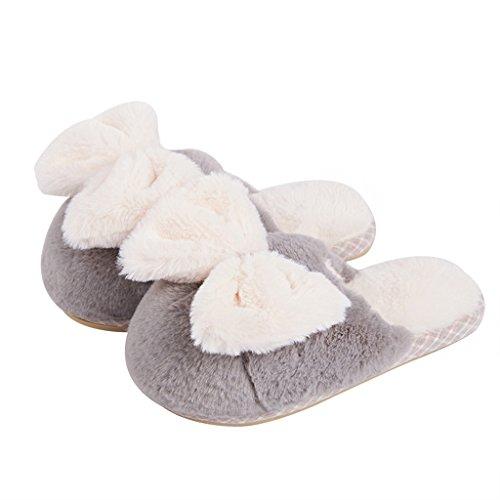 cálida algodón espesor interior preciosa de mujer Gris DWW invierno zapatillas en casa Zapatillas zapatos antideslizante de zwqqOtY
