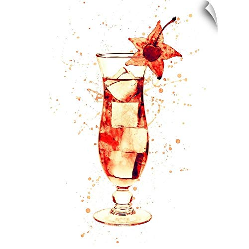 (CANVAS ON DEMAND Cocktail Drinks Glass Watercolor Wall Peel Art Print, 27