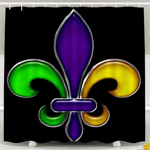 Crannel Waterproof Shower Curtains, Shower Curtain for Bathroom Fleur De Mardi Gras Party New Parade Orleans 66X72inches Decoration Eco-Friendly Shower Curtain -