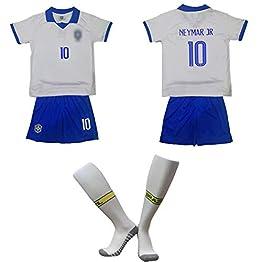 CJM Joueur de Football brésilien Neymar JR NO.10 Maillot/Maillot Rétro Neymar JR NO.10 Style Brésilien Vintage Wear T-Shirt pour Enfants Shorts + Chaussettes (Gris)