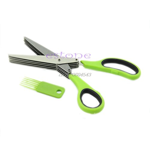 Price comparison product image NJPOWER Stainless Steel 5Blade Office Cut Shredding Scissors Sharp Herb Kitchen Tool R02 Drop ship