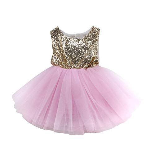 Toddler Baby Girls Birthday Wedding Party Dress Sleeveless Sequins Top Lace Tutu Skirt (Pink Lace Bubble Skirt, 6-9 Months)