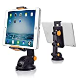 CarBoss Car Tablet Mount Holder, Universal Adjustable Windshield Dashboard Mounts 360 Degree Rotation Arm Stand Cradle with Strong Gel Pad Suction for iPhone 8 7 6S 6 Plus X/Samsung Galaxy Tab/iPad