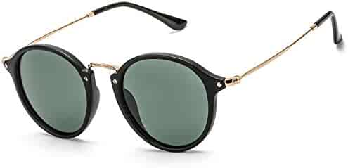 48504808d7 ELIVWR Round Retro Polarized Sunglasses Driving Shopping Glasses Steampunk  Frame