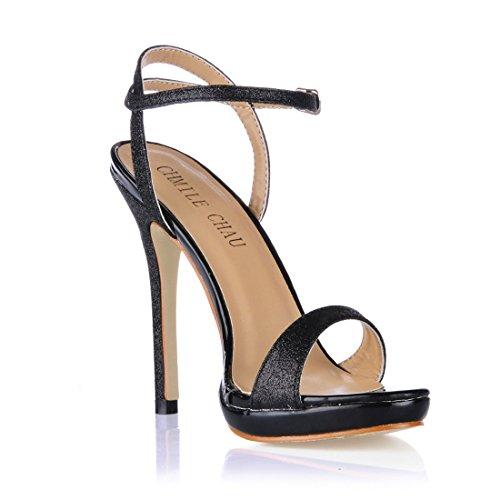 a 1cm da CHAU CHMILE Alto Cinturino Moda alla Eleganti Nero Nuziale Sposa Scarpe glitter Piattaforma Tacco Donna Caviglia Sandali Spillo Partito 0wUqdUE