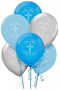 Boy's - Blue and Silver First Holy Communion Latex Balloons - 15ct