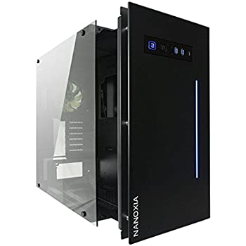 Nanoxia Project S Fully Fledged HTPC Tempered Glass Computer Case with Drawer Design and RGB LED, Fits ATX Motherboard and 120/240/280mm Radiators, Black (NXPSB)