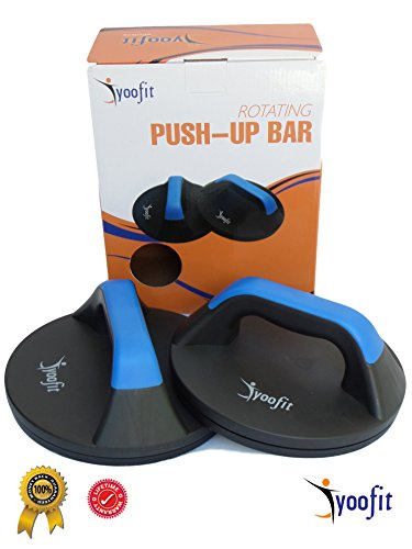 Yoofit Rotating Push Up Bars - Perfect Get Upper Body Muscle, Core Strength and Provide Comfort Less Wrist Strain - Smooth Rotation Handle Stand Bar For CrossFit Workout or Fitness Training (Handles Up Perfect Push)