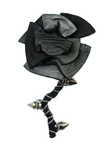 Nicolina Royale Rock Star Black & Silver Leather Spiked Rose Lapel Pin Boutonniere - Black Signature Leather Spike