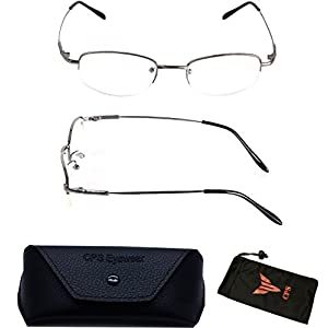 1 Pair Nearsighted Myopia Lens Oval Shape Metal Wired Optical Frameless Lightweight Glasses (Strength: -450)