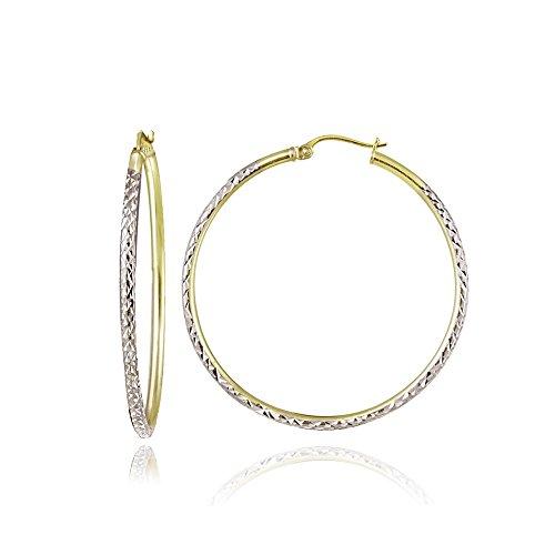 Hoops & Loops Sterling Silver Two Tone 2mm Diamond Cut Round Hoop Earrings, 25mm