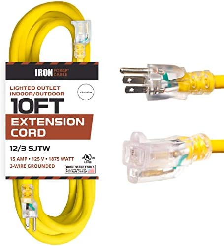 10 Foot Lighted Outdoor Extension Cord – 12/3 SJTW Heavy Duty Yellow Extension Cable with 3 Prong Grounded Plug for Safety – Great for Garden and Major Appliances