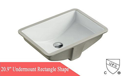 20.9 Inch Rectrangle Undermount Vitreous Ceramic Lavatory Vanity Bathroom Sink Pure White by Contempo Living Inc (Image #4)