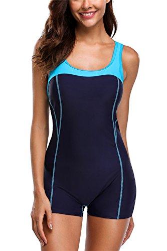 ALove One Piece Swimwear For Ladies Athletic Boyleg Swimsuit Swimming Suit Navy - Swimwear Racing Ladies