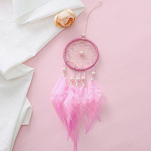 Per Mini Handmade Dream Catchers Wind Chimes Dreamcatcher Net Hanging Decoration Ornament For Room Car (2.713.54in)-Pink by Per (Image #1)
