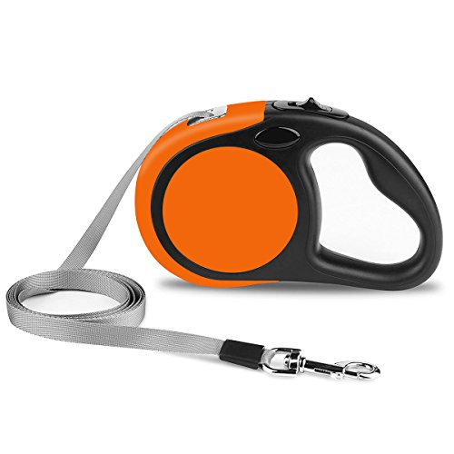 Fairwin Retractable Dog Leash, 16ft Dog Walking Leash with One Button Control and Ergonomic Hand Grip for Medium/Small Dogs(Orange-Black, 5M/16ft)
