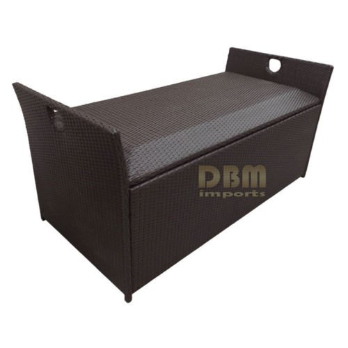 60'' Wicker Patio Deck Pool Storage Ottoman Box Chest Bench Cushion Pillow Trunk Poolside Storing
