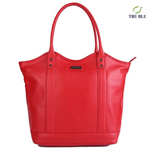 Blu Leather Bag - TRU BLU Women's Genuine Leather Hand Bag 34CM X 44CM X 13.5 CM HAND HANDLE DROP – 21 CM Red Leather