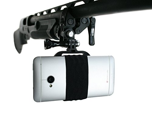 (Action Mount - Sportsman's Mount for Any Smartphone: Clamp Attaches to Sports Fishing Rod, Bow, Shotgun, Rifle, Paintball and More. Operable with Any Phone. Strong Hold.)