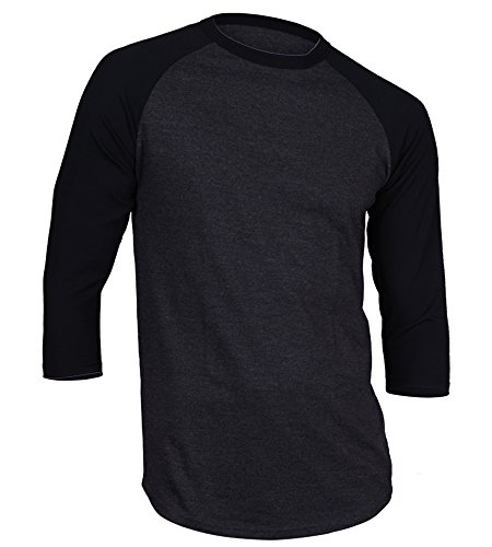 DREAM USA Men's Casual 3/4 Sleeve Baseball Tshirt Raglan Jersey Shirt C Gray/Black XL