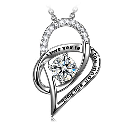 ANGEL NINA Perfect Love Necklace for Women 925 Sterling Silver Crystal from Swarovski Fine Jewelry, Jewelry Gift Box Packing, Nickel Free Passed SGS Test Best Choice