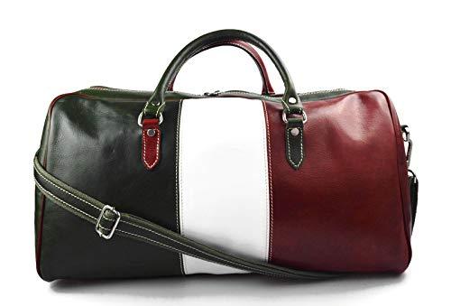 - Duffle bag genuine leather shoulder bag Italian flag green back mens ladies travel bag gym luggage made in Italy carryon weekender duffle