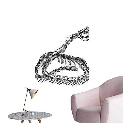 (Wall Stickers for Living Room Black White Reptile Skelet MOV The Ground Wild Exotic Snake Black Vinyl Wall Stickers Print,32