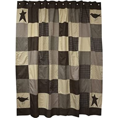 Kettle Grove Collection Patchwork Shower Curtain Crow Stars Country Primitive Home Décor