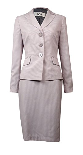 [Le Suit Womens The Hamptons Pinstripe 2PC Skirt Suit Pink 14] (Pinstriped Skirt Suit)