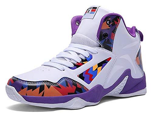 Women Basketball Sneakers - No.66 TOWN Women's Shock Absorption Running Shoes Sneaker,Basketball Shoes Size 5.5 White Purple