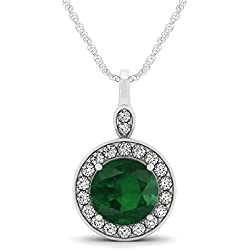 14k Gold Round Emerald and Diamond Halo Pendant Necklace