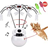 Reeple Automatic Rotating Ball Tumbler Cat Kitten Light Pointer Toy Multifunction Spinning Pets Catcher Non-Handhold Fun Chaser Interactive Teaser Toys (one Size Spinning Ball, White)