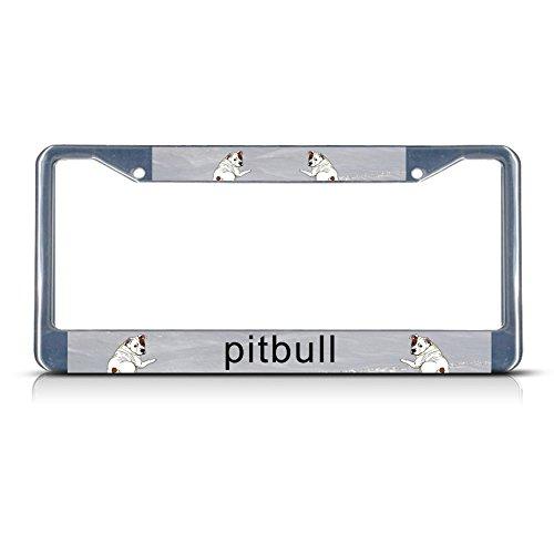 Pit Bull License Plate Frame - Pitbull Chrome License Plate Frame Tag Holder
