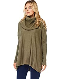 Womens Casual Oversized Cowl Pullover Sweater W Rib Sleeves