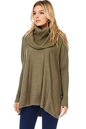 Alexander + David Womens Casual Oversized Turtle Neck Pullover Sweater, Soft and Warm W/Ribbed Sleeves