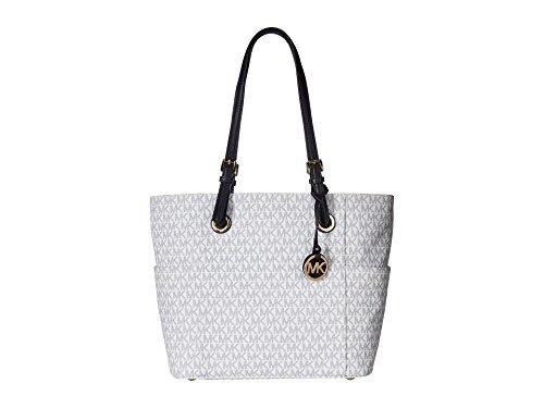 Michael Kors Women's Jet Set Travel Small Logo Tote Bag (Optic White/Navy) by MICHAEL Michael Kors