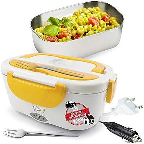 SPICE - Fiambrera eléctrica Plus Amarillo de Acero Inoxidable con Bandeja extraíble de 1,5 litros y Tapa con Cierre, Compatible con 220 V y 12 V, 40 W