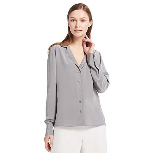LilySilk Women's 100% Silk Blouse Long Sleeve V Neck Ladies Shirt 18 Momme Silk Gray Size M