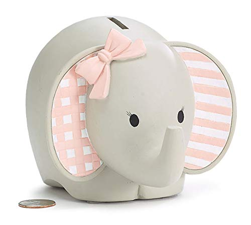 Burton and Burton 9730218 Pink Resin Elephant Bank, Multicolor