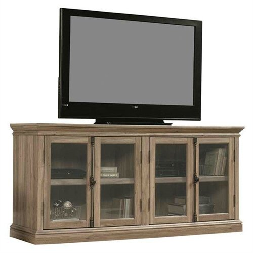 (Svitlife Salt Oak Wood Finish TV Stand with Tempered Glass Doors - Fits up to 80-inch TV Entertainment Center Tv Stand And Shelves Modern Console Media)