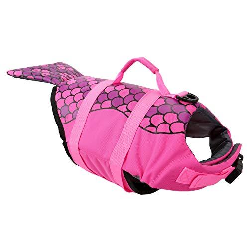 Mogoko Mermaid Dog Life Jacket Swimming Vest, Pink Pet Life Preserver Canine Water Floatation Device with Reflective Stripes/Padded Handle (Medium Size) (Best Canine Life Jackets)
