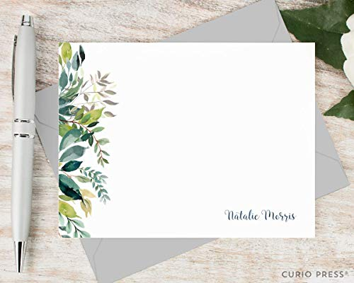 (VERDANT - Personalized Floral Womens Flat Note Card Stationery/Stationary Set)