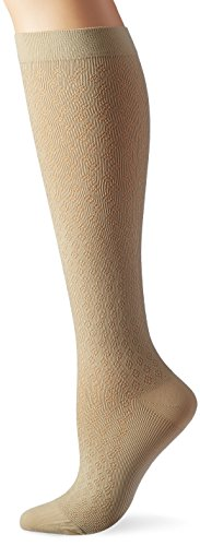 Activa Womans 15-20 mmHg Diamond Pattern Dress Trouser Socks, Tan, (Diamond Pattern Trouser Socks)