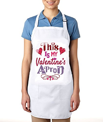 Valentine Personalized Apron (Chef's Apparel Personalized Custom Names and Prints Aprons for Men and Women. GET Your Name and Also Pictures Printed!! (White/Valentine's Apron))