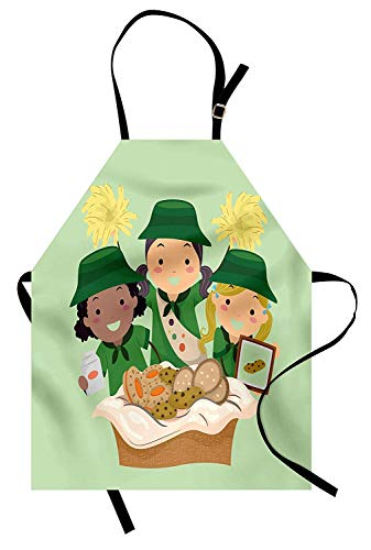 T&H Home Girl Scouts Apron, Illustration of Girls with Uniforms Selling Various Cookies Fundraiser Event, Unisex Kitchen Bib Apron Adjustable for Kids Adults Cooking Baking Gardening, Multicolor -