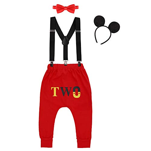 Baby Toddler Boy Second Birthday Party Cake Smash Photography Prop Mouse Costume Halloween Dress up Playwear 4PCS Outfit